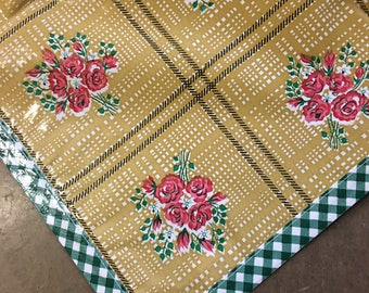 Square Bouquet Tan Oilcloth Tablecloth with Green Gingham Trim