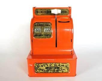 Vintage Uncle Sam's Mechanical Cash Register Coin Bank!