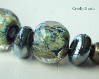 "Handmade Lampwork beads ""Pond Life  "" - Creeky Beads SRA"