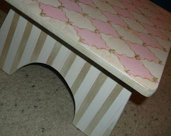 Pink and Silver, Single step stool, Pink Swirls, Bathroom Stool, Personalized, Childrens, Kids Benches, Time Out,