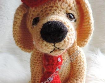 Summer Sale Cute Yellow Dog Crochet Pattern by Teri Crews