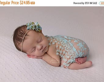 ON SALE Aqua lace wrap with matching tie back, wrap and headband set, newborn photo prop, baby girl prop, lace wrap, baby headband