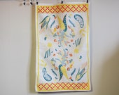Linen Tea Towel Hand Printed Yellow Flowers 1950s