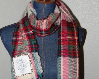 Scripture Scarf - Oblong- Khaki, hot pink, and teal plaid