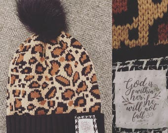 Leopard Scripture Patch Beanie