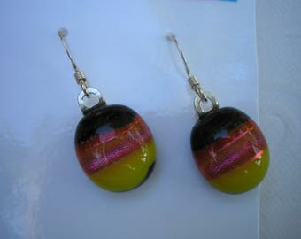 Dichroic Glass Earrings Candy Corn Fall Colors 925 Sterling Earwires Oval Dangle Earrings Yellow, Orange, Black Fused Glass Iridescent Boho