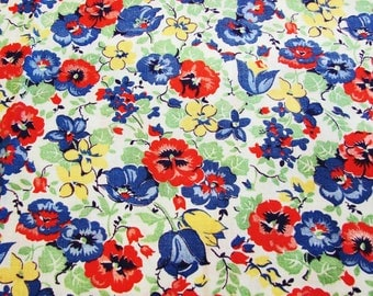 Feedsack Fabric 1940s Old Feedsack Fabric Red Blue Yellow Pansy Floral Print Flowers Cotton Feed Sack Colorful Fabric