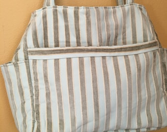 Tina#1461, Striped Upholstery Fabric Project Tote, Extra Large Project Tote, Expanding Knitting Bag. Knitting Project Bag, Needlepoint Tote