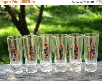 JOSE CUERVO FIESTA Tequila  Mexico Set of 6 Shot Glasses Mint Condition   Circa 1980s Never Used