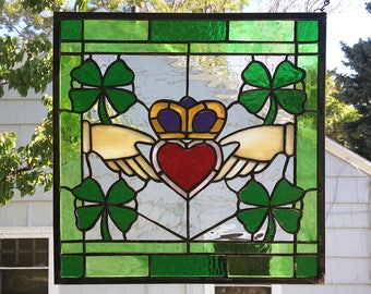 "Claddagh Symbol 14"" x 14""--Stained Glass Window Panel"