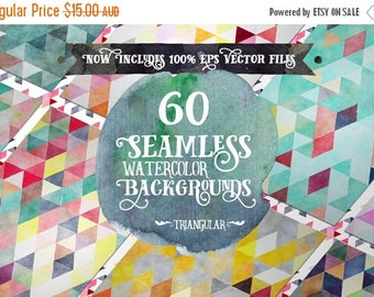 80% OFF Digital paper Seamless Backgrounds - 60 Watercolor Triangles - Now with EPS Vector Files included