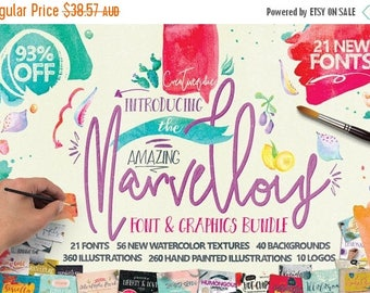 80% OFF 93 Percent OFF Sale, Marvellous fonts Bundle, modern calligraphy, wedding fonts, Watercolor Clipart, Digital Paper