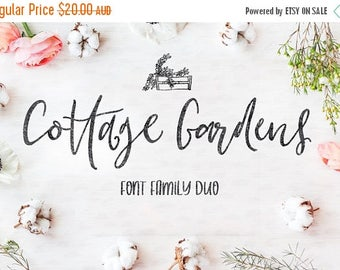 80% OFF Cottage Gardens Script Font, Font duo, Wedding Font, Farmhouse Style, Hand drawn, Calligraphy, Digital Font