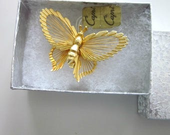 Vintage Gold Tone Butterfly Brooch by Capri, Original Capri Tag - Costume Jewelry - Butterfly Pin - Wireworks Butterfly Pin - Good Luck Pin