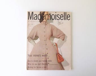 1950s Mademoiselle Magazine complete issue March 1952 For Smart Young Women ... Audrey Hepburn New York New Look Fashion investment advice