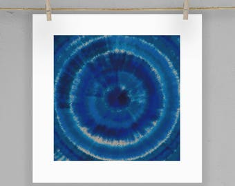 Indigo Blue Shibori Wall Art Print  5X5 8X8 12X12 Matting Options