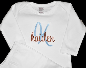 Coming Home Outfit Personalized, Monogrammed Baby Gown, White Infant Gown and Hat, Take Home Outfit, Baby Girl Clothes, Baby Boy Clothes