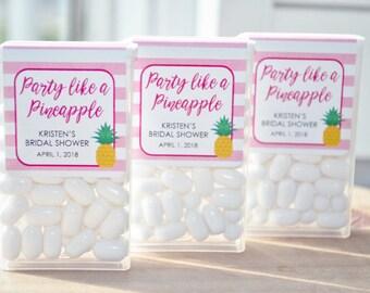 Tic Tac Labels, Bridal Shower Favors, Wedding Favors, Bachelorette Party, Engagement Favors, Party Like A Pineapple - Set of 24 Labels
