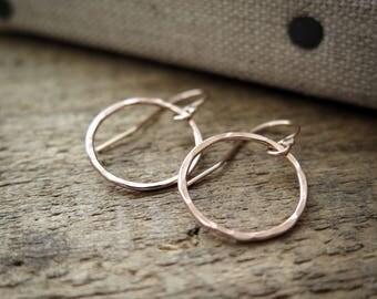 Rose Gold Circle Earrings Hammered Rings Rustic Simple