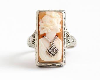 Vintage 14k White Gold Diamond Cameo Ring - Size 6 1/4 Vintage 1930s Filigree Art Deco Habillé Carved Shell Fine Necklace Jewelry