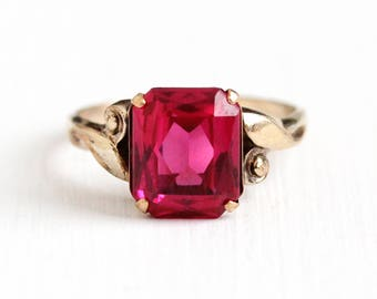 Vintage 10k Rosy Yellow Gold Filled Created 3 Carat Ruby Ring - 1940s Size 6 3/4 Red Pink Lab Created July Birthstone Clark & Coombs Jewelry