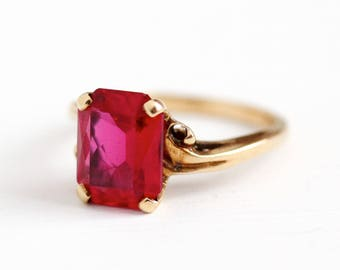 Created Ruby Ring - Vintage 10k Rosy Yellow Gold 3.63 CT Pink Lab Gemstone Fine Jewelry - Size 6 1/4 Red July Birthstone , Baden & Foss