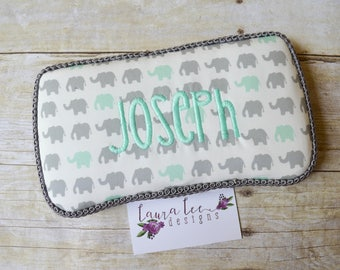 Gray and Mint Green Small Elephants Travel Baby Wipe Case, Personalized Baby Shower Gift, Wipe Holder, Monogram Case, Diaper Bag Wipe Clutch