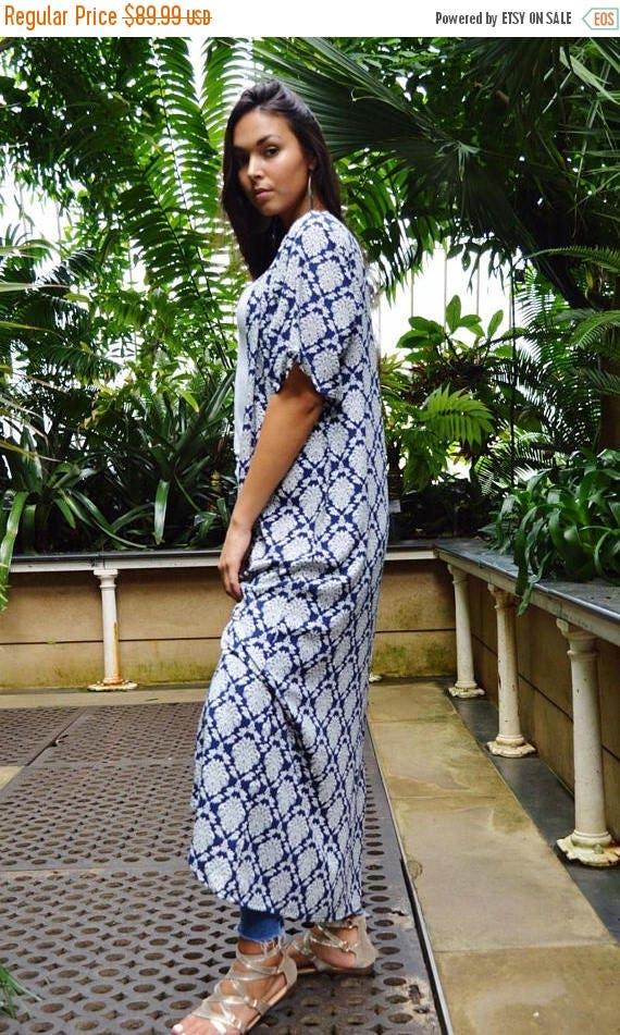 KAFTAN 20% SALE/ Blue Floral Print Kimono, Jacket, long Jacket, Marrakech Kimono, Robe, Beach Kimono, Winter Jacket, Bohemian, Moroccan Jack