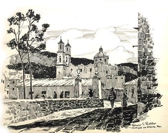 Wilmer S. Richter ORIGINAL ART Pen and Ink of San Miguel de Allende Mex.
