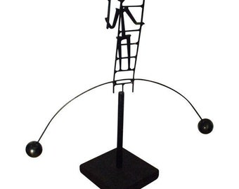 Mid Century Modern Sculpture Kinetic Modernist Statue Swinging Man Desk Toy