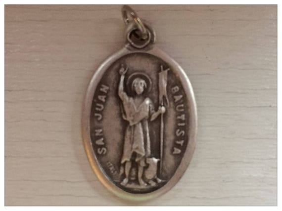 5 Patron Saint Medal Findings, San Juan Bautista, Die Cast Silverplate, Silver Color, Oxidized Metal, Made in Italy, Charm, Religious, RM307