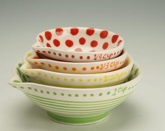 Polka Dot Measuring Cups, Set of 4, Nesting Ceramic Bowls, Kitchen Prep Bowls, Pottery Condiment Bowls, Small Polka Dot Bowls