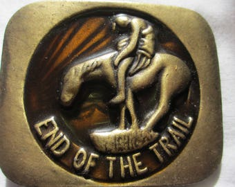 End of the Trail brass belt buckle, horse and rider