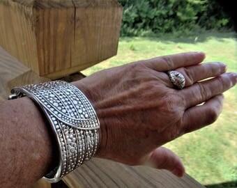 A Gorgeous Vintage Art Deco /Marcasite Look/ Sturdy Silver Metal Wide Bracelet