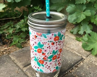 Vintage mini floral sleeve straw lid DIY mason jar tumbler