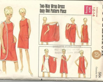 1960s Wrap Dress Only One Main Pattern Piece Butterick 4699 Uncut FF Size Medium 12 - 14 Bust 34 - 36 Women's Vintage Sewing Pattern