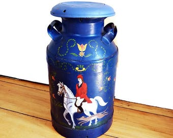 Antique Hand Painted Milk Can , Equestrian Scene, Horse and Rider Folk Art Farm House Decor, Bar Stool, Side Table, Blue Milk Can