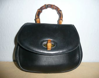 Andre Cellini Little Black Leather Handbag with Bamboo Handle and Removable Shoulder Strap, Made in Italy