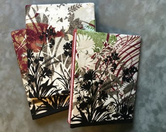Gorgeous floral Butterfly Silhouette print  Quilted Refillable Journal Notebook