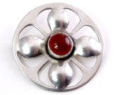Arts & Crafts Sterling Silver and Carnelian Cabochon Clover 4-Petal Flower Pin