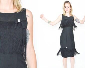 BLACK FRINGE Dress. 60's Vintage Flapper Dress. Long Tassle Fringe. Mod Madmen 60's Party Dress. Mod Diamante Bows/ Wiggle Dress Size Small