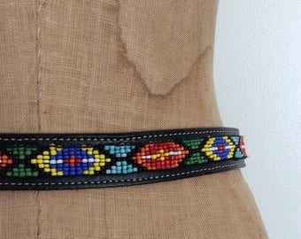 30% OFF 1970's Black Leather Beaded Belt Western Vintage Belt Size Small Medium by Maeberry Vintage