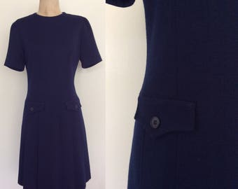 1970's Navy Blue Wool Shift Dress w/ Pockets Vintage Dropwaist Dress Size Small Medium by Maeberry Vintage