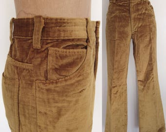 1970's Golden Velvety Pants Unisex Straight Leg Vintage Trousers Unisex Size Small Medium by Maeberry Vintage