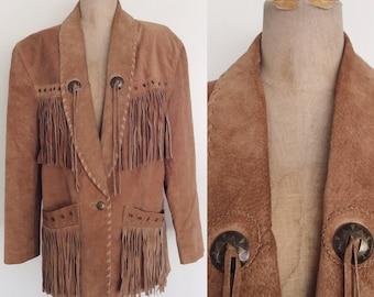 1980's Fringe Suede Leather Western Jacket Size Medium Large by Maeberry Vintage