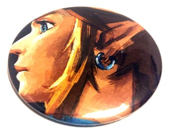 Handmade POCKET MIRROR made using recycled magazines -Breath Of The Wild- 2.25 inches - OOAK - One of a Kind