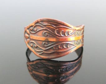 Vintage Solid Copper Bypass Ring - Spoon Ring Style, Adjustable Size