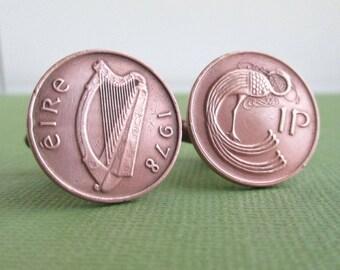 IRELAND Coin Cuff Links - Irish, Eire Repurposed Vintage Bronze / Copper Coins