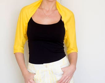 Summer Outdoors, shrugs and bolero, Summer Party, Boho bolero, Yellow bolero, summer bolero, yellow shrug