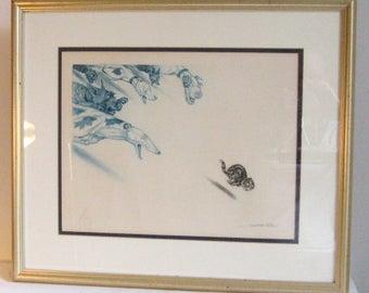 """original unusual 2 color etching dogs cat signed Boris O'Klein deco """"Sauve Qui Peut"""""""